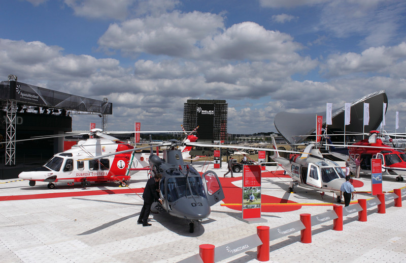 AW139 and AW109 helicopters on display at the Farnborough Airshow 2010