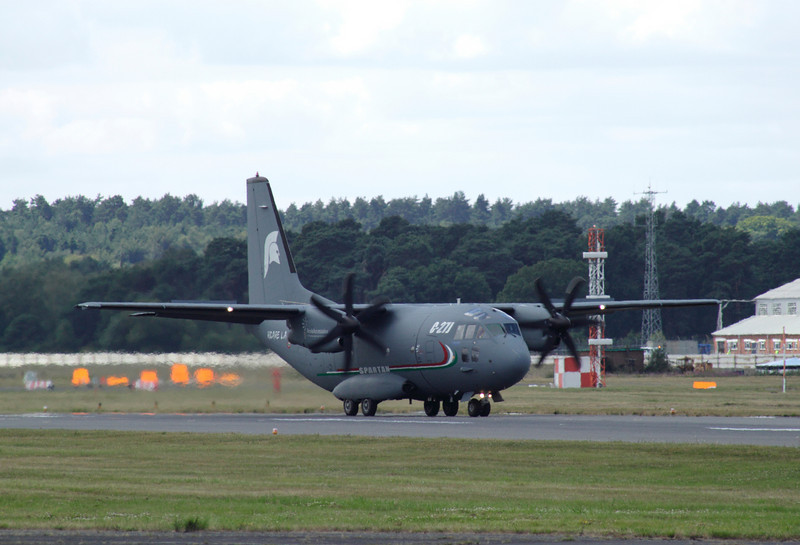 C27J Spartan airlifter about to take off at the Farnborough Airshow 2010