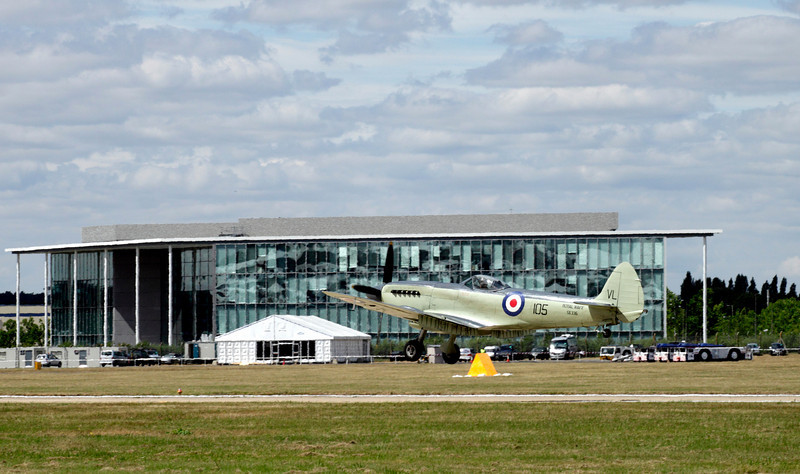 Supermarine Spitfire landing at Farnborough Airshow 2010
