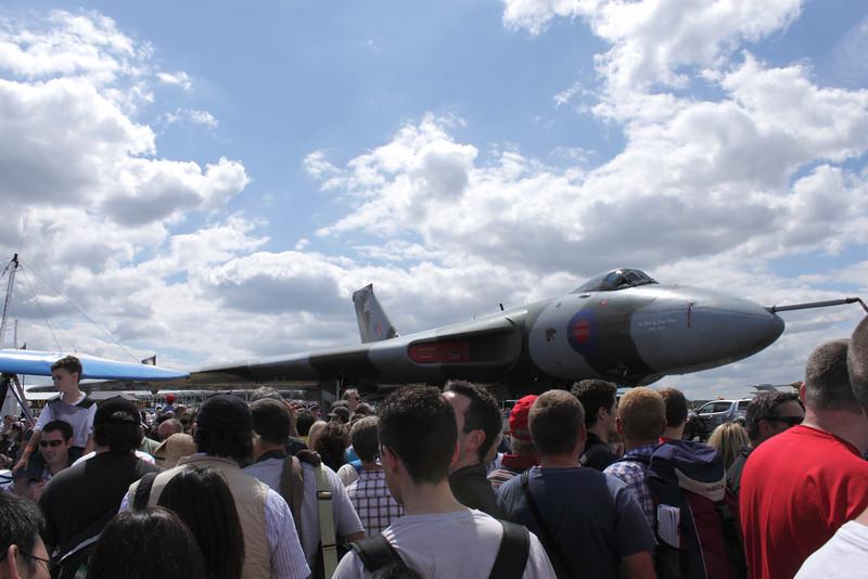 RAF Vulcan Bomber and spectators at Farnborough Airshow 2010