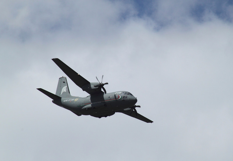 C27J Spartan airlifter flying at the Farnborough Airshow 2010
