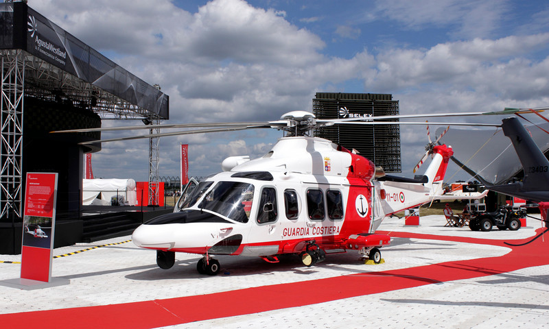 AW139 helicopter of the Italian Coast Guard at Farnborough Airshow 2010