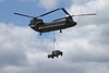 Boeing Vertol Chinook helicopter flying at the Farnborough Airshow 2010