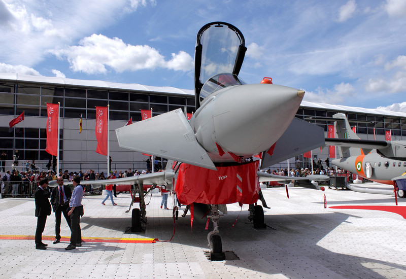 Italian Air Force Eurofighter typhoon on display at the Farnborough Airshow 2010