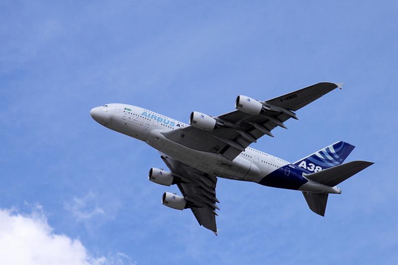 A380 Airbus flying at Farnborough Airshow 2010