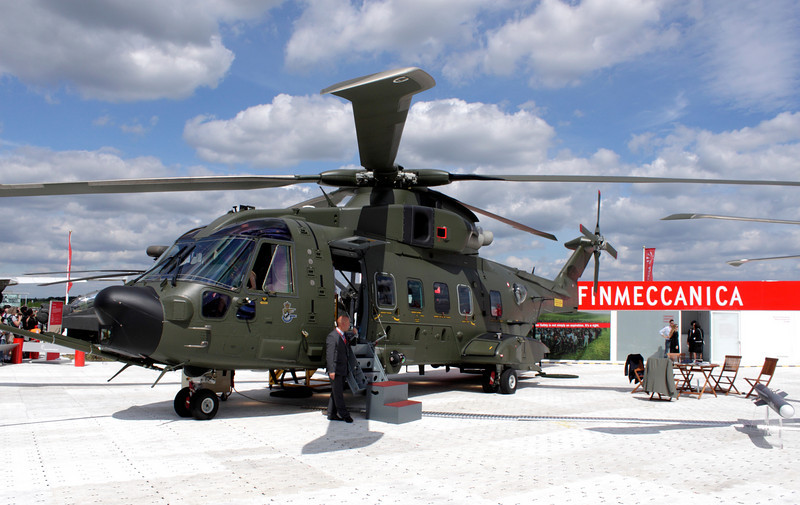 Augusta Westland AW101 Helicopter on display at Farnborough Airshow 2010