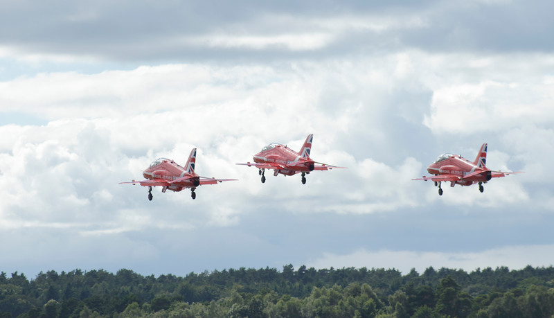 Red Arrows Hawks at Farnborough Airshow 2016