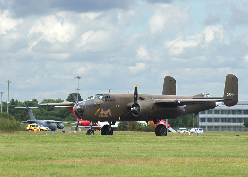 Boeing B-25 American WW2 bomber at Farnborough Airshow UK 2016