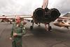 Farnborough Airshow UK 2016 Air Force officer and Tornado GR4 Jet Aircraft