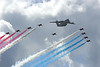 Farnborough Airshow UK  2016 A400M and red arrows flypast