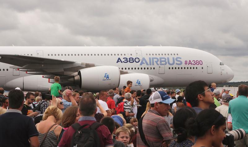 Farnborough Airshow UK 2016 Crowd of Spectators and Airbus A380
