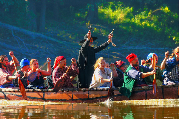 """February 17, A late post today as I was out of town. This is another shot from the """"Feast of the Hunter's Moon"""". This is the blessing of the travelers at the landing of the canoes."""