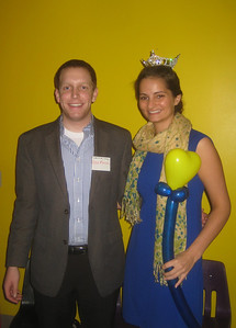"Friends of the Library board member Alex Morse posing with Katlyn Lewicke, ""Miss Greater Holyoke 2011."""