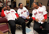 BOSTON -- Boston Red Sox alumni Pedro Martinez, second from left, relaxes with fellow alumni, from left, Anastacio Martinez, Izzy Alcantara and Wilton Veras at Fenway High School prior to the special pregame ceremony celebrating the 100th anniversary of Fenway Park on Friday, April 20, 2012. (Brita Meng Outzen/Boston Red Sox)