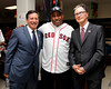 "BOSTON -- Former Boston Red Sox hitting coach Ron ""Papa Jack"" Jackson, center, poses with Red Sox chairman Tom Werner, left, and principal owner John Henry at Fenway High School prior to the special pregame ceremony celebrating the 100th anniversary of Fenway Park on Friday, April 20, 2012. (Brita Meng Outzen/Boston Red Sox)"