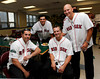 BOSTON -- From left, former Boston Red Sox players Adam Stern, Gil Valazquez, Nick Green and Joe Nelson pose at Fenway High School prior to the special pregame ceremony celebrating the 100th anniversary of Fenway Park on Friday, April 20, 2012. (Brita Meng Outzen/Boston Red Sox)