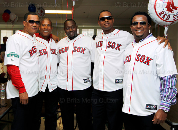 BOSTON -- From left, Boston Red Sox alumni Wilton Veras, Josias Manzanillo, Anastacio Martinez, Izzy Alcantara and Pedro Martinez -- all from the Dominican Republic -- gather at Fenway High School prior to the special pregame ceremony celebrating the 100th anniversary of Fenway Park on Friday, April 20, 2012. (Brita Meng Outzen/Boston Red Sox)