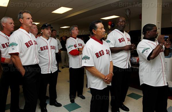 BOSTON -- Boston Red Sox alumni listen as Red Sox chairman Tom Werner speaks to them at Fenway High School prior to the special pregame ceremony celebrating the 100th anniversary of Fenway Park on Friday, April 20, 2012. (Brita Meng Outzen/Boston Red Sox)