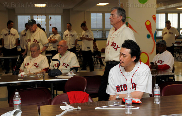 BOSTON -- Boston Red Sox alumni, including former pitcher Tomo Ohka, front, gather at Fenway High School prior to the special pregame ceremony celebrating the 100th anniversary of Fenway Park on Friday, April 20, 2012. (Brita Meng Outzen/Boston Red Sox)