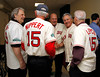 BOSTON -- Boston Red Sox alumni, including Rico Petrocelli, second from right, Ted Lepcio, right, and Merlin Nippert, second from left,  gather at Fenway High School prior to the special pregame ceremony celebrating the 100th anniversary of Fenway Park on Friday, April 20, 2012. (Brita Meng Outzen/Boston Red Sox)