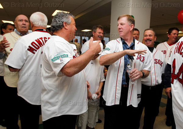 BOSTON -- Boston Red Sox alumni gather at Fenway High School prior to the special pregame ceremony celebrating the 100th anniversary of Fenway Park on Friday, April 20, 2012. (Brita Meng Outzen/Boston Red Sox)