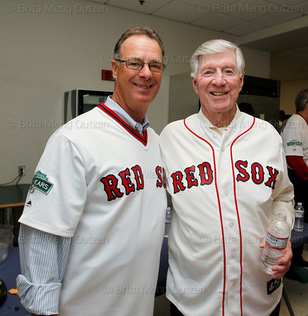 BOSTON -- Boston Red Sox alumni Rick Burleson and Joe Morgan pose at Fenway High School prior to the special pregame ceremony celebrating the 100th anniversary of Fenway Park on Friday, April 20, 2012. (Brita Meng Outzen/Boston Red Sox)