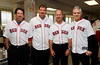 BOSTON -- Boston Red Sox alumni gather at Fenway High School prior to the special pregame ceremony celebrating the 100th anniversary of Fenway Park on Friday, April 20, 2012. (Brita Meng Outzen/Boston Red Sox)