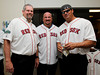 BOSTON -- From left, Boston Red Sox alumni Steve Crawford, Jim Corsi and Jose Canseco pose at Fenway High School prior to the special pregame ceremony celebrating the 100th anniversary of Fenway Park on Friday, April 20, 2012. (Brita Meng Outzen/Boston Red Sox)