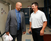 BOSTON -- Former Boston Red Sox manager Terry Francona, left, and former pitcher Keith Foulke share a laugh at Fenway High School prior to the special pregame ceremony celebrating the 100th anniversary of Fenway Park on Friday, April 20, 2012. (Brita Meng Outzen/Boston Red Sox)