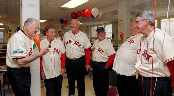 BOSTON -- Boston Red Sox alumni share a laugh at Fenway High School prior to the special pregame ceremony celebrating the 100th anniversary of Fenway Park on Friday, April 20, 2012. (Brita Meng Outzen/Boston Red Sox)
