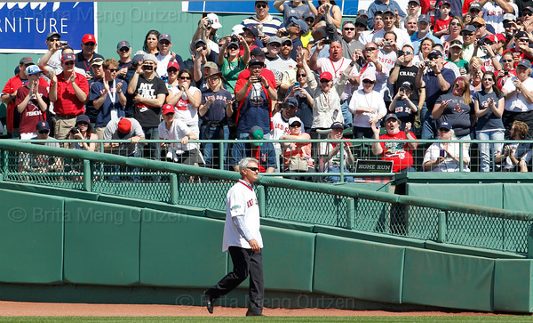 BOSTON -- Fans cheer as former Boston Red Sox right fielder Dwight Evans walks to his position on the field during the special pregame ceremony celebrating the 100th anniversary of Fenway Park on Friday, April 20, 2012. (Brita Meng Outzen/Boston Red Sox)