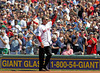 BOSTON -- Former Boston Red Sox first baseman Bill Buckner acknowledges the fans' ovation after being introduced during the special pregame ceremony celebrating the 100th anniversary of Fenway Park on Friday, April 20, 2012. (Brita Meng Outzen/Boston Red Sox)