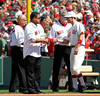 BOSTON -- Boston Red Sox infielder Nate Spears, right, greets Red Sox second base alumni on the field during the special pregame ceremony celebrating the 100th anniversary of Fenway Park on Friday, April 20, 2012. (Brita Meng Outzen/Boston Red Sox)