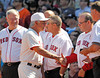BOSTON -- Boston Red Sox manager Bobby Valentine, second from left, shakes hands with former Red Sox catcher Rich Gedman, as other Red Sox catching alumni watch during the special pregame ceremony celebrating the 100th anniversary of Fenway Park on Friday, April 20, 2012. (Brita Meng Outzen/Boston Red Sox)