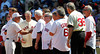 BOSTON -- Boston Red Sox manager Bobby Valentine, third from left, greets Red Sox catcher alumni at home plate during the special pregame ceremony celebrating the 100th anniversary of Fenway Park on Friday, April 20, 2012. (Brita Meng Outzen/Boston Red Sox)
