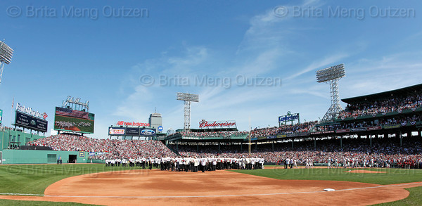 "BOSTON -- Over 200 former Boston Red Sox players participated in the ""Field of Dreams"" pregame ceremony celebrating the 100th anniversary of Fenway Park on Friday, April 20, 2012. (Brita Meng Outzen/Boston Red Sox)"