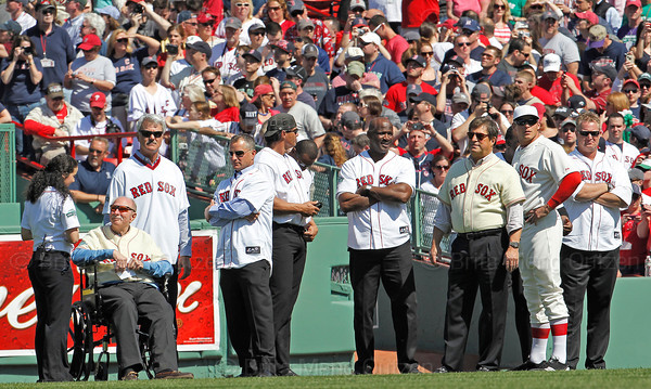 BOSTON -- Boston Red Sox right fielder Ryan Sweeney, second from right, stands on the field with Red Sox alumni right fielders during the special pregame ceremony celebrating the 100th anniversary of Fenway Park on Friday, April 20, 2012. (Brita Meng Outzen/Boston Red Sox)