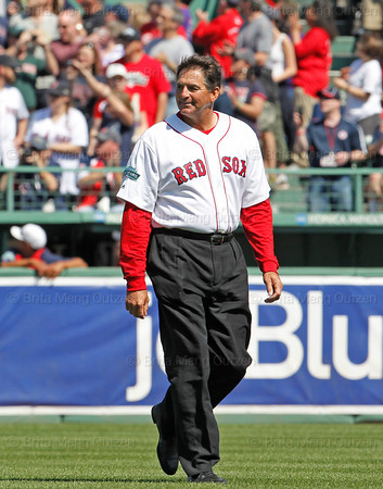 BOSTON -- Former Boston Red Sox pitcher Bruce Hurst walks to his position on the field during the special pregame ceremony celebrating the 100th anniversary of Fenway Park on Friday, April 20, 2012. (Brita Meng Outzen/Boston Red Sox)