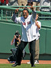 BOSTON -- Former Boston Red Sox pitcher Pedro Martinez shows his enthusiasm on the field during the special pregame ceremony celebrating the 100th anniversary of Fenway Park on Friday, April 20, 2012. (Brita Meng Outzen/Boston Red Sox)