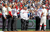 BOSTON -- Boston Red Sox infielder Nate Spears, right, stands on the field with Red Sox second base alumni during the special pregame ceremony celebrating the 100th anniversary of Fenway Park on Friday, April 20, 2012. (Brita Meng Outzen/Boston Red Sox)