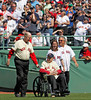 BOSTON -- Former Boston Red Sox pitcher Lou Lucier, second from left, the oldest living Red Sox player, enters the field with other Red Sox alumni during the special pregame ceremony celebrating the 100th anniversary of Fenway Park on Friday, April 20, 2012. (Brita Meng Outzen/Boston Red Sox)
