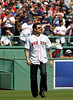BOSTON -- Former Boston Red Sox shortstop Nomar Garciaparra takes in the atmosphere on the field during the special pregame ceremony celebrating the 100th anniversary of Fenway Park on Friday, April 20, 2012. (Brita Meng Outzen/Boston Red Sox)