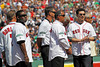 BOSTON — Former Boston Red Sox shortstops stand in position on the field during the special pregame ceremony celebrating the 100th anniversary of Fenway Park on Friday, April 20, 2012. (Brita Meng Outzen/Boston Red Sox)