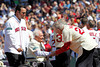 BOSTON -- Former Boston Red Sox pitcher Paul Hinrichs, right, greets former teammate Bobby Doerr, center, as fellow Red Sox alumnus Tim Wakefield watches on the field during the special pregame ceremony celebrating the 100th anniversary of Fenway Park on Friday, April 20, 2012. (Brita Meng Outzen/Boston Red Sox)