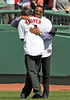 BOSTON -- Former Boston Red Sox pitcher Pedro Martinez, right, hugs fellow alumnus Tommy Harper on the field during the special pregame ceremony celebrating the 100th anniversary of Fenway Park on Friday, April 20, 2012. (Brita Meng Outzen/Boston Red Sox)