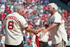 BOSTON -- Former Boston Red Sox left fielder and Hall of Famer Carl Yastrzemski, right, is greeted on the field by fellow Red Sox alumnus Rico Petrocelli during the special pregame ceremony celebrating the 100th anniversary of Fenway Park on Friday, April 20, 2012. (Brita Meng Outzen/Boston Red Sox)