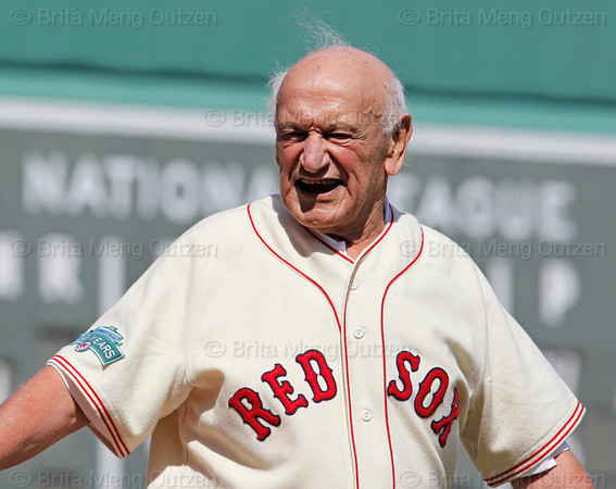 BOSTON -- Former Boston Red Sox third baseman Frank Malzone smiles as he walks to his position during the special pregame ceremony celebrating the 100th anniversary of Fenway Park on Friday, April 20, 2012. (Brita Meng Outzen/Boston Red Sox)