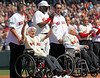 BOSTON -- Boston Red Sox alumnus Johnny Pesky, second from left, acknowledges the fan ovation as fellow alumni Jason Varitek, left, Tim Wakefield, second from right, and Bobby Doerr, right, and current Boston Red Sox designated hitter David Ortiz watch during the special pregame ceremony celebrating the 100th anniversary of Fenway Park on Friday, April 20, 2012. (Brita Meng Outzen/Boston Red Sox)