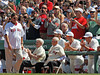 BOSTON -- Former Boston Red Sox catcher and Hall of Famer Carlton Fisk, left, walks onto the fieid as fans and, from left, former Red Sox players Johnny Pesky and Bobby Doerr, and current Red Sox pitchers Daniel Bard, Jon Lester and John Lackey watch during the special pregame ceremony celebrating the 100th anniversary of Fenway Park on Friday, April 20, 2012. (Brita Meng Outzen/Boston Red Sox)