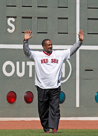 BOSTON -- Former Boston Red Sox left fielder and Hall of Famer Jim Rice acknowledges the fan ovation after being introduced during the special pregame ceremony celebrating the 100th anniversary of Fenway Park on Friday, April 20, 2012. (Brita Meng Outzen/Boston Red Sox)